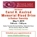 The 8th Annual Carol H. Axelrod Memorial Blood Drive in Radnor Township
