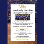 Join the Valley Forge Chorus 'Holiday Harmony Singers'