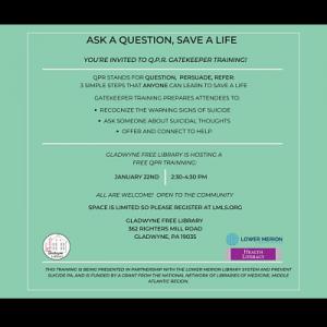 Save a Life – Q.P.R. Training