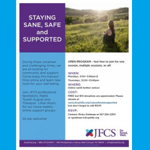 JFCS - Staying Sane, Safe and Supported