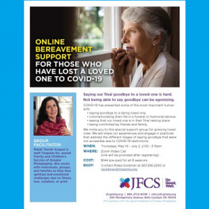 JFCS - Bereavement Support for those who have lost a loved one to Covid-19