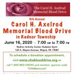 The 9th Annual Carol H. Axelrod Memorial Blood Drive in Radnor Township