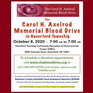 Carol H. Axelrod Memorial Blood Drive in Haverford...