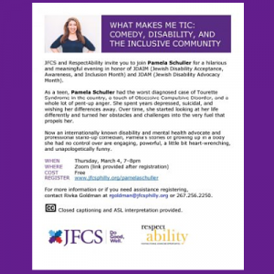 JFCS - What Makes Me Tic: Comedy, Disability, and ...