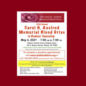 10th Annual Carol H Axelrod Memorial Blood Drive in Radnor Township